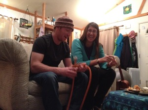 Daniel and Theadora practicing knots